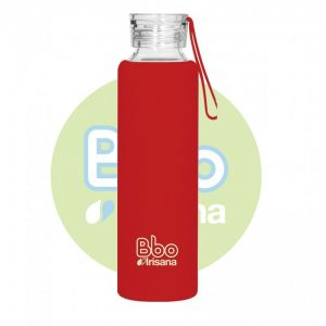 Botella reutilizable Bbo con funda Roja, 550ml. Irisana